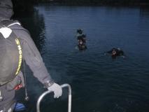 Dämmerungstauchgang von der Badeplattform